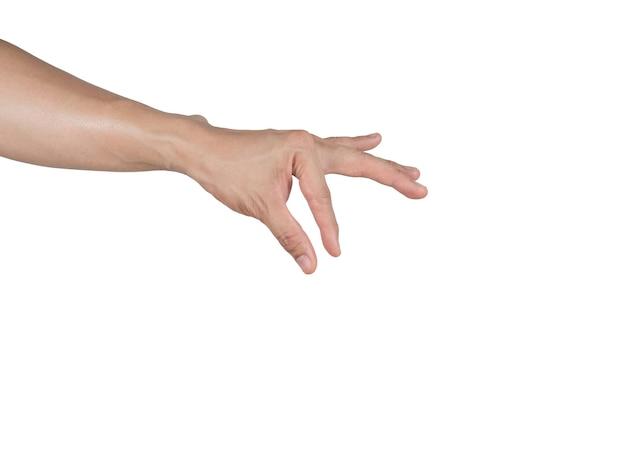 Hand fangen artikel mit dem finger auf weißem hintergrund isoliert