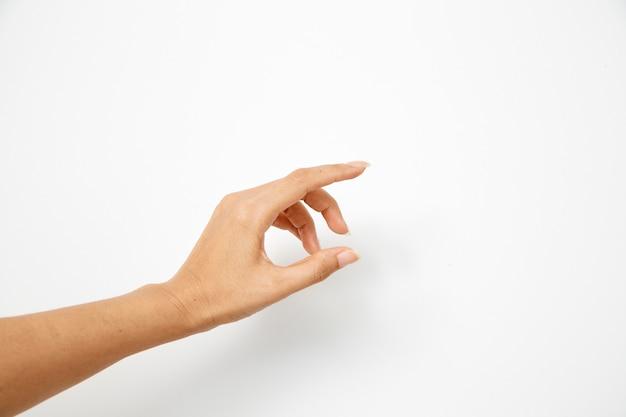 Hand frau hält etwas
