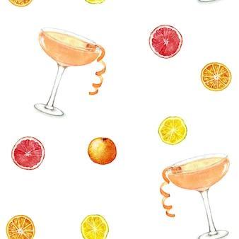 Hand gezeichnete aquarell nahtlose muster sommer frische cocktails und zitrusfrüchte.