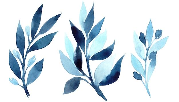 Hand gezeichnete aquarellillustration des abstrakten blauen zweigs. elemente für die gestaltung von einladungen, filmplakaten, stoffen und anderen objekten