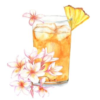 Hand gezeichnete aquarellillustration des frischen sommercocktails mit ananas und blumendekoration.