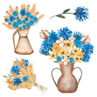 Hand gezeichnete gelbe weizenohren des aquarells und blaue blumenstraußillustration