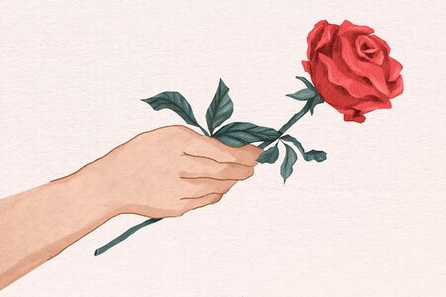 Hand gezeichnete illustration der niedlichen valentinstag-rosengeschenkhand