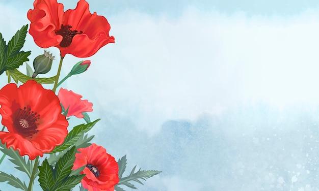 Hand gezeichnete mohnblumen mit einem blauen hintergrund