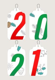 Hand gezeichnete neujahrsetikettenkollektion