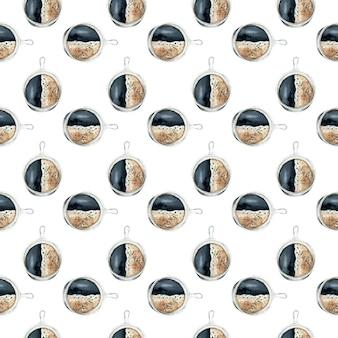 Hand gezeichneter nahtloser hintergrund der aquarellkaffeetasse.