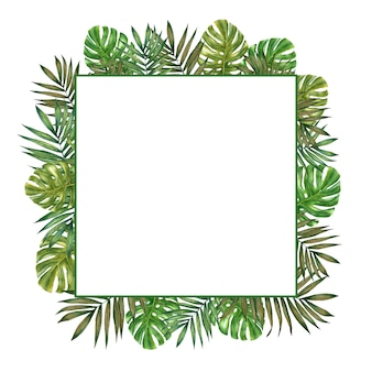 Hand gezeichnetes aquarell tropischer quadratischer rahmen mit palmblättern und monstera.