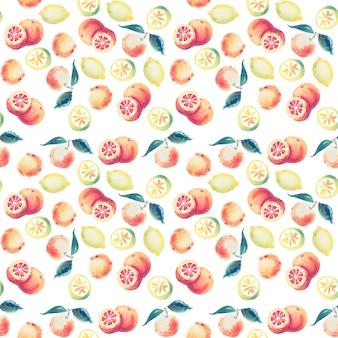 Hand gezeichnetes muster der zitrusfrucht