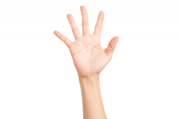 Hand gezeigtes fünf-finger-symbol.