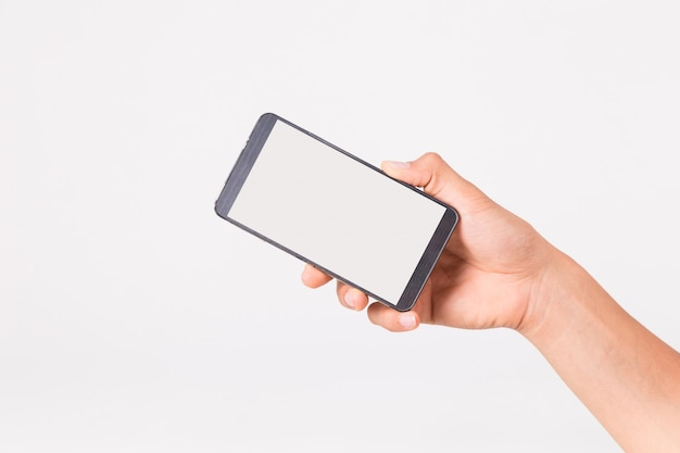 Hand hält das smartphone