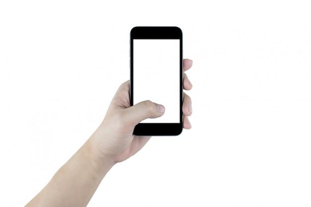 Hand hält den schwarzen smartphone, lokalisiert. beschneidungspfad eingebettet.