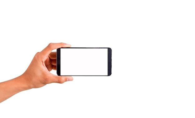 Hand hält den smartphone