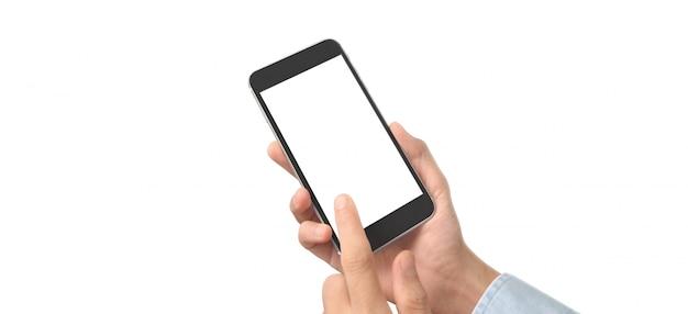 Hand hält ein smartphone-gerät und touchscreen