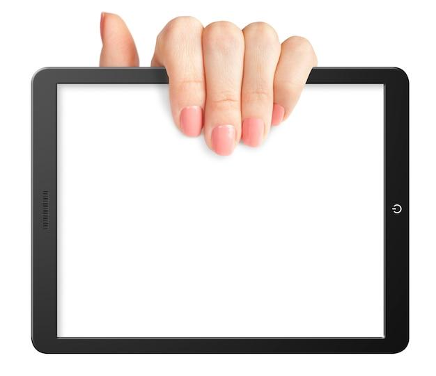 Hand hält eine leere tablette