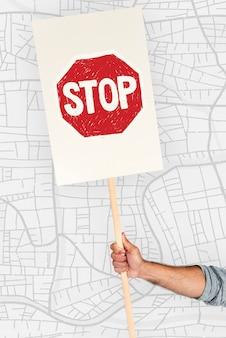 Hand hält netzwerkgrafik-overlay-banner