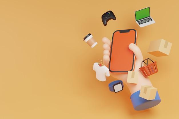Hand hält online-shopping auf smartphone und digitales marketingkonzept auf orangefarbenem hintergrund 3d-rendering