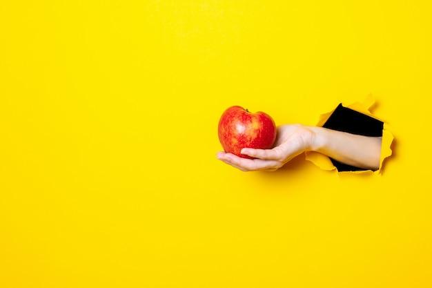 Hand hält roten apfel auf gelb