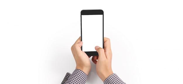 Hand hält smartphone und touchscreen
