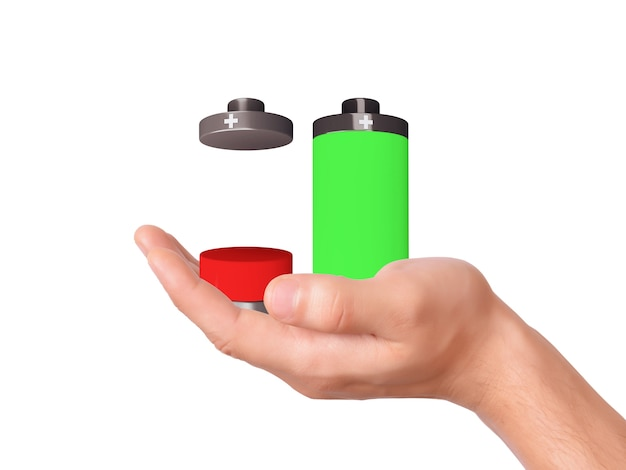 Hand halten batteriesymbol mit bunten ladestand