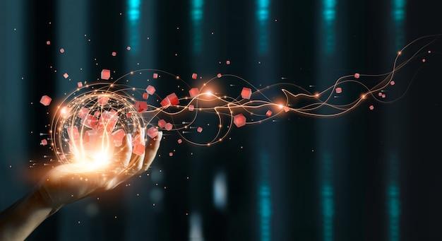 Hand halten des globalen datennetzwerks big data und blockchain finanzanalyse soziales netzwerk