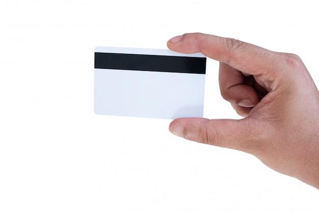 Hand halten mockup kreditkarte
