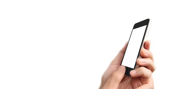 Hand halten smartphone-gerät touchscreen