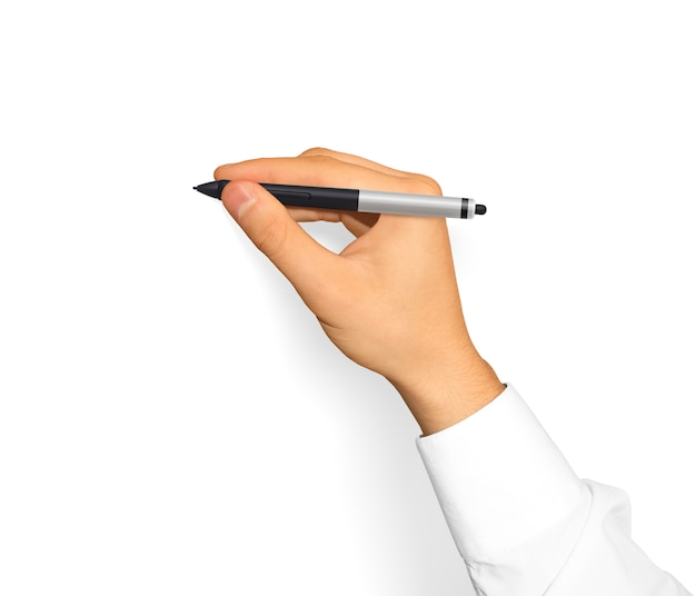 Hand in weißem hemd, das grafiktablettstift hält