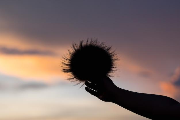 Hand mädchen auf sonnenuntergang hintergrund