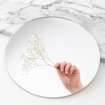 Hand mit blumen im spiegel