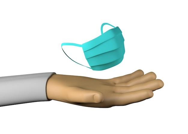 Hand mit chirurgischer maske. schutz. gesundheit. 3d-darstellung.
