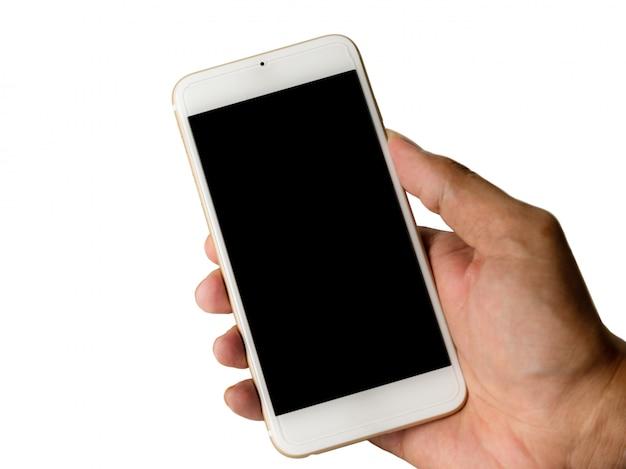 Hand mit dem intelligenten telefonschwarzschirm lokalisiert auf weiß