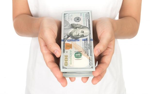 Hand mit dollar isoliert auf weißem hintergrund