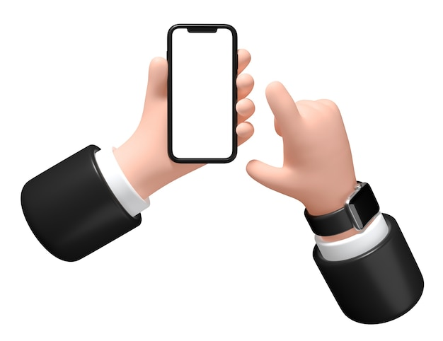 Hand mit einem smartphone auf weißem hintergrund 3d-darstellung geschäftsmann hält ein telefon in der hand