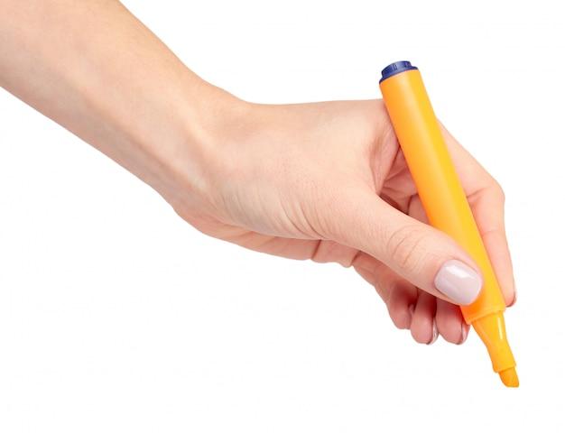 Hand mit filzstift, zeichnen oder schreiben.