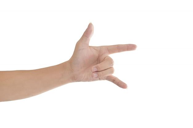 Hand mit ich liebe dich zeichen lokalisiert auf weißem hintergrund mit beschneidungspfad.