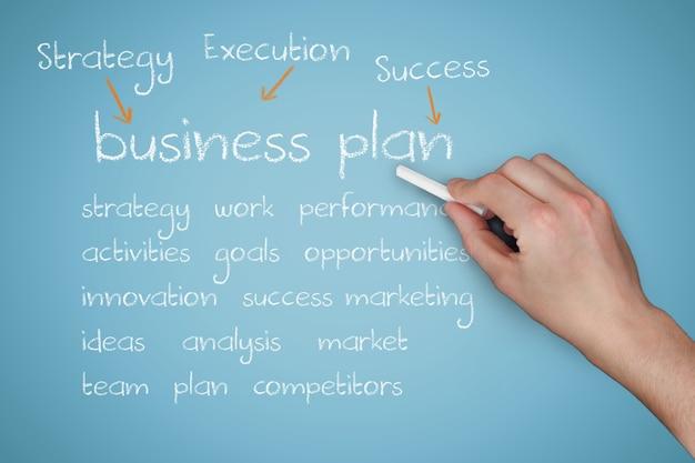 Hand mit kreide erklärt business-plan