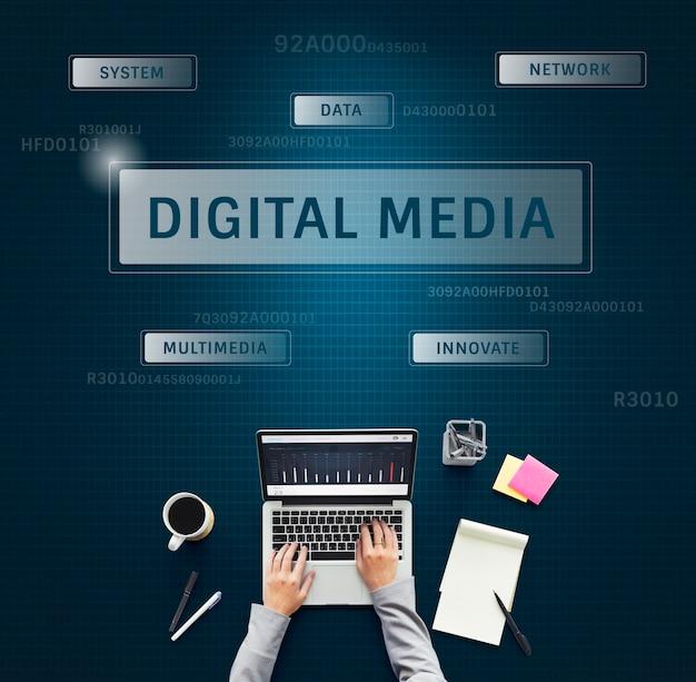 Hand mit laptop[ mit grafik der globalen kommunikationsverbindungstechnologie
