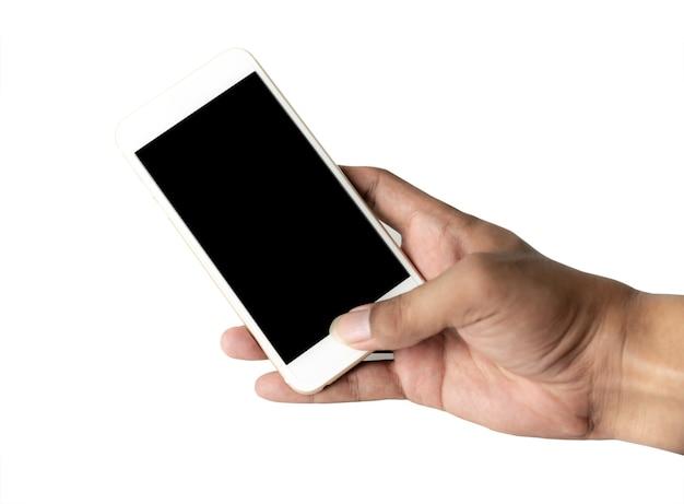 Hand mit schwarzem bildschirm des smartphones isoliert auf weißem hintergrund