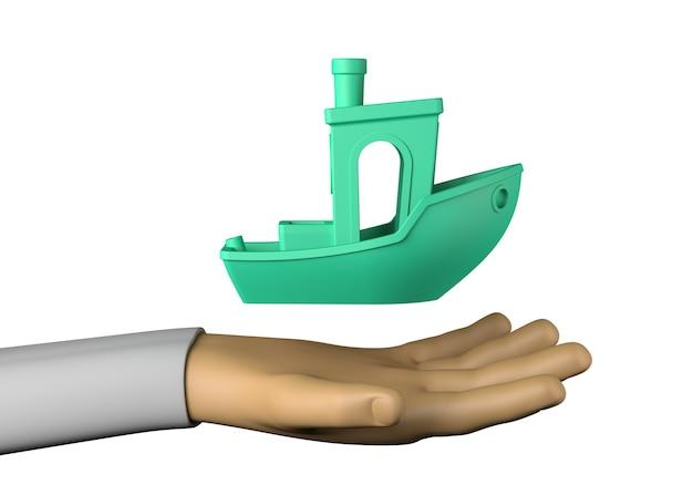 Hand mit spielzeugboot. 3d-darstellung.