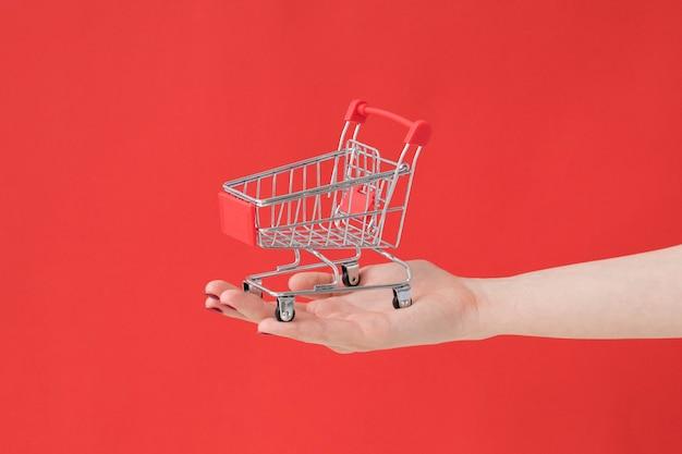 Hand mit supermarktwagen