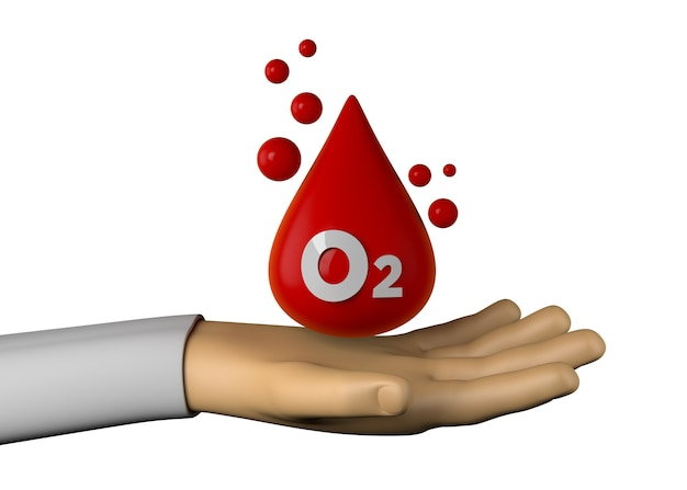 Hand mit symbol für die sauerstoffsättigung des blutes. 3d-darstellung.