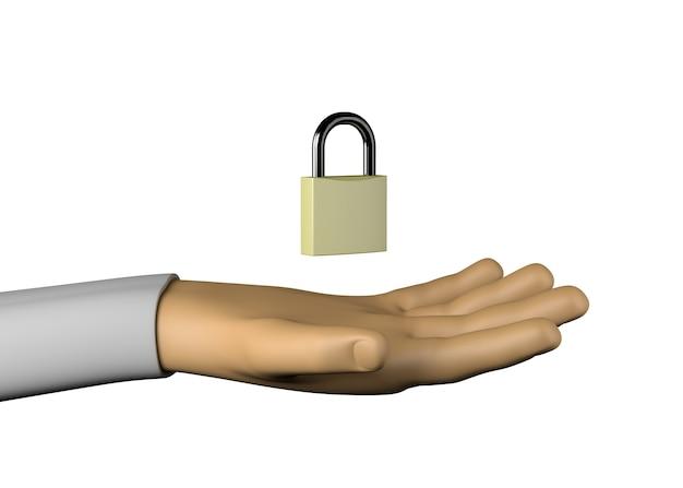 Hand mit vorhängeschloss. problem. sicherheit. 3d-darstellung.