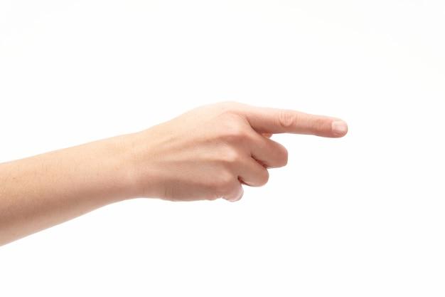 Hand mit zeigefinger auf weißem hintergrund, kopierraum