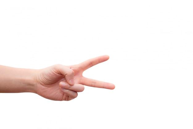 Hand mit zwei fingern oben im friedens- oder siegessymbol.