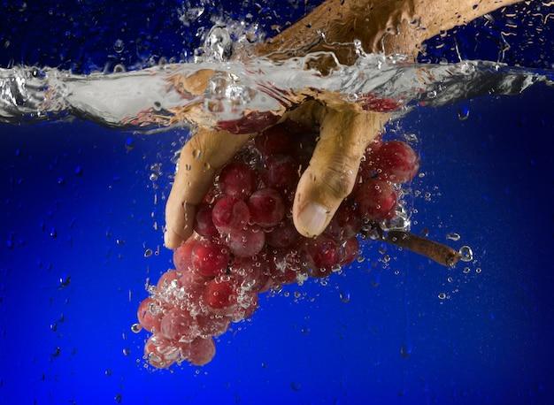 Hand schiebt weintraube ins wasser
