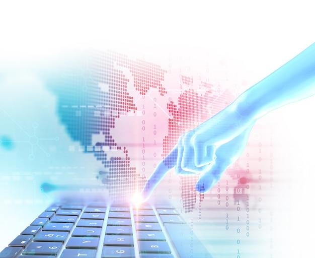 Hand touch geste auf futuristische technologie element