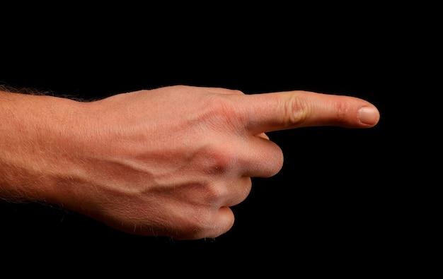 Hand und finger zeigen auf etwas