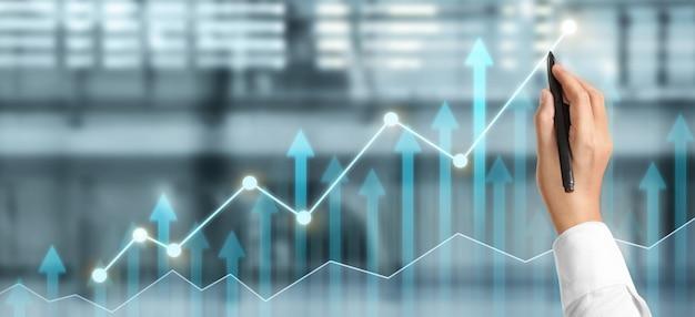 Hand zeichnen diagramm, wachstum diagramm fortschritt des geschäfts analyse von finanz- und investitionsdaten, geschäftsplanungsstrategie