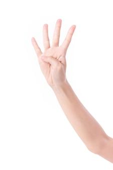 Hand zeigt auf 4 finger, studio isoliert