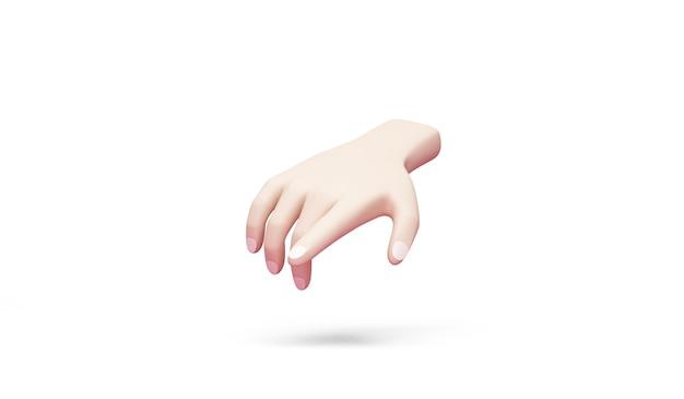 Hand zeigt auf etwas auf weißem hintergrund
